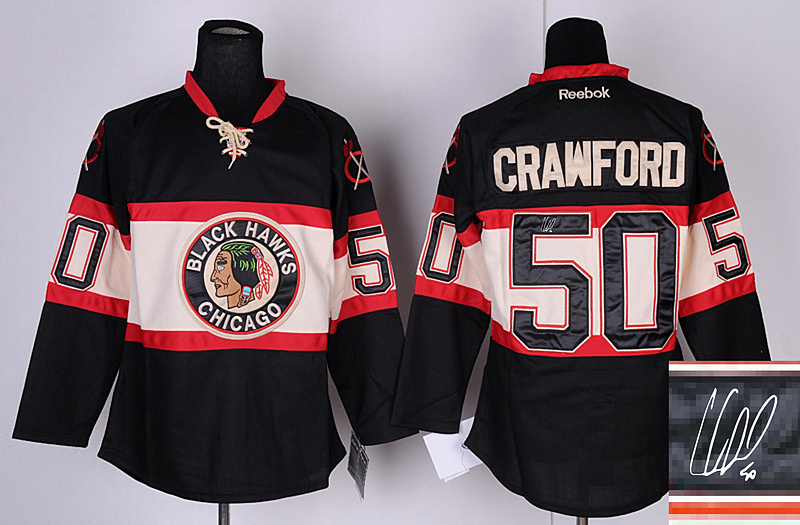 Blackhawks 50 Crawford Black 3rd Signature Edition Jerseys