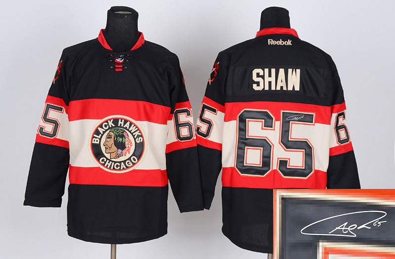 Blackhawks 65 Shaw Black Third Signature Edition Jerseys