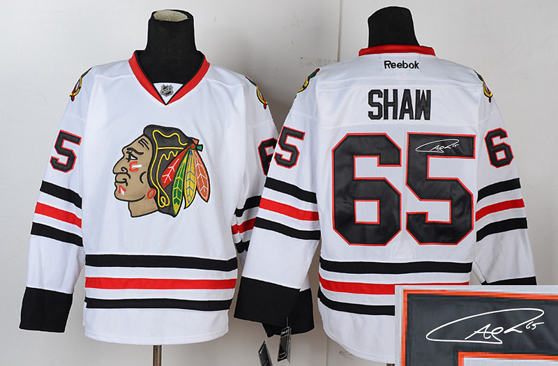 Blackhawks 65 Shaw White Signature Edition Jerseys