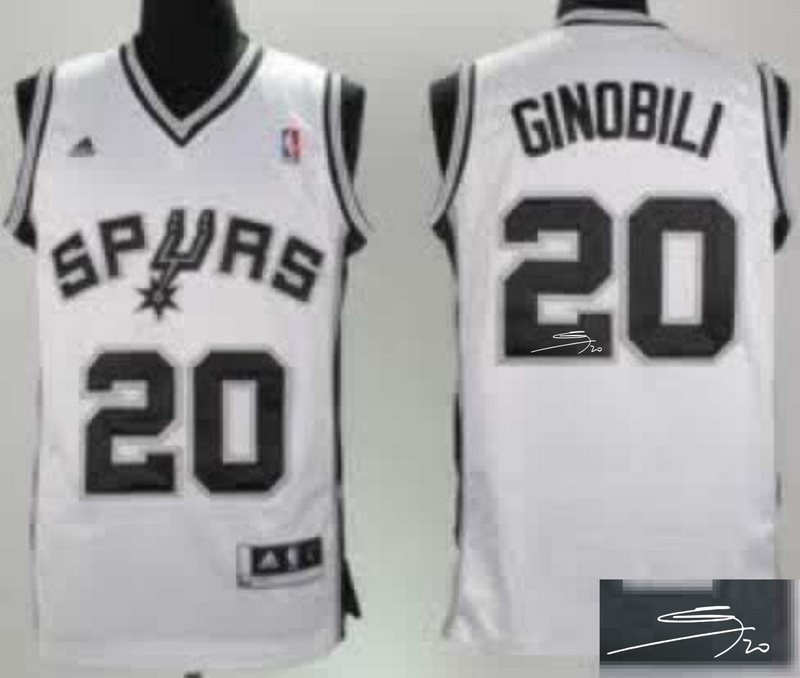 Spurs 20 Ginobili White Signature Edition Jerseys