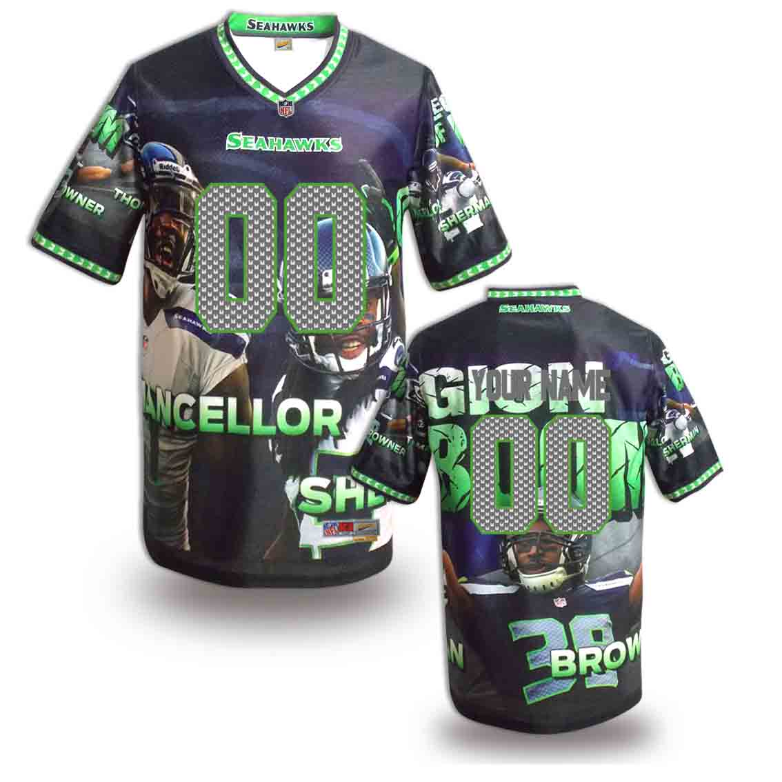 Nike Seahawks Customized Fashion Stitched Jerseys04