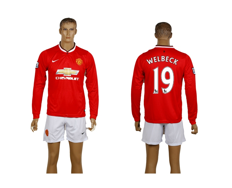 2014-15 Manchester United 19 Welbeck Home Long Sleeve Soccer Jerseys