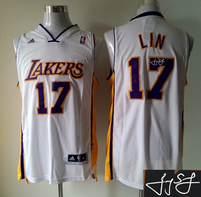 Lakers 17 Lin White Signature Edition Jerseys