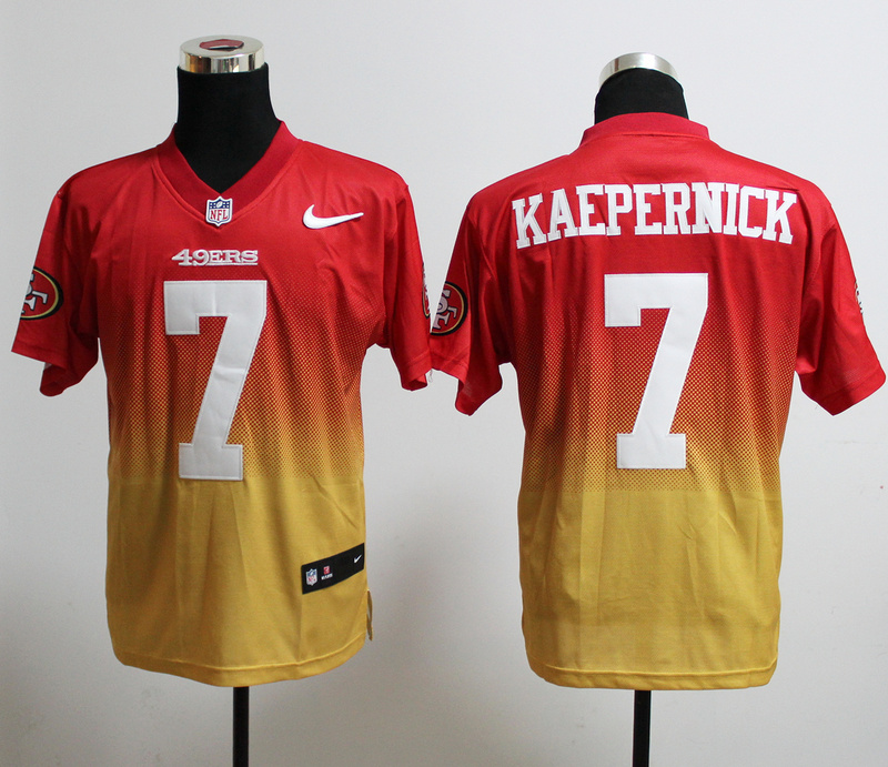 Nike 49ers 7 Kaepernick Red And Gold Drift Fashion II Elite Jerseys