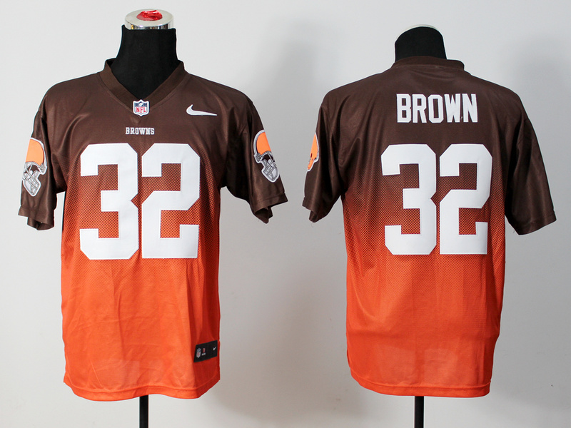 Nike Browns 32 Brown Brown And Orange Drift Fashion II Elite Jerseys