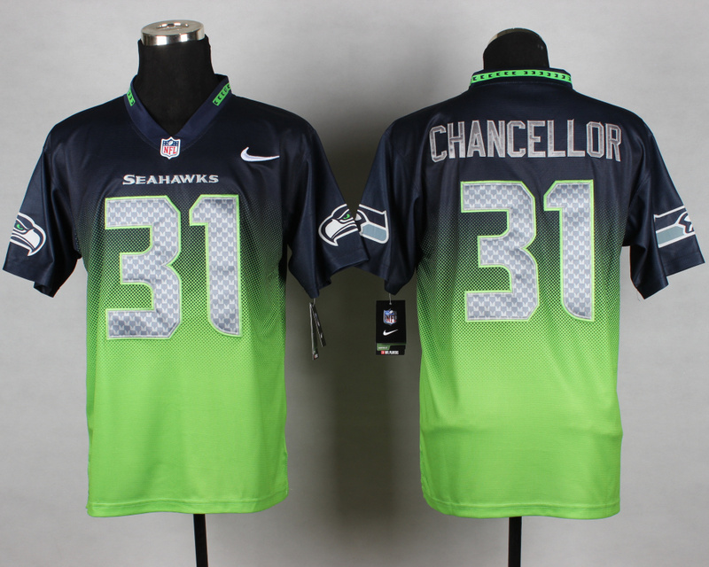 Nike Seahawks 31 Chancellor Blue And Green Drift Fashion II Elite Jerseys