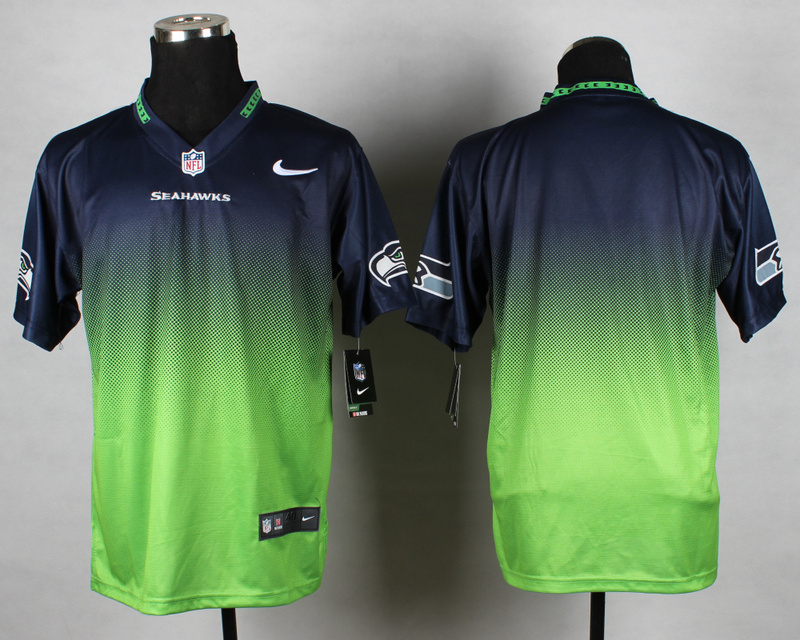 Nike Seahawks Blue And White Drift Fashion II Custom Jerseys