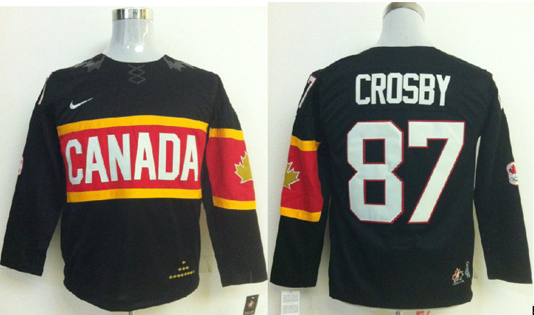 Canada 87 Crosby Black 2014 Olympics Kids Jerseys