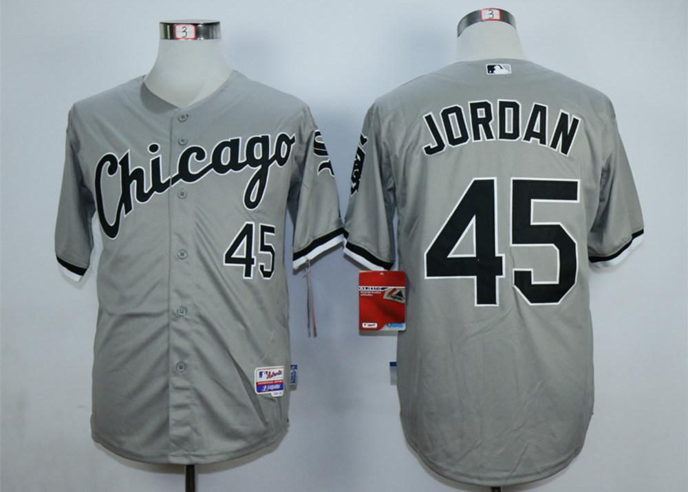 White Sox 45 Michael Jordan Grey Cool Base Jersey