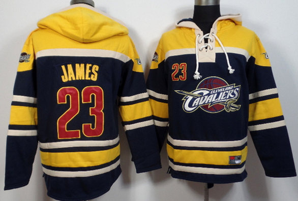 Cavaliers 23 LeBron James Navy Blue All Stitched Hooded Sweatshirt