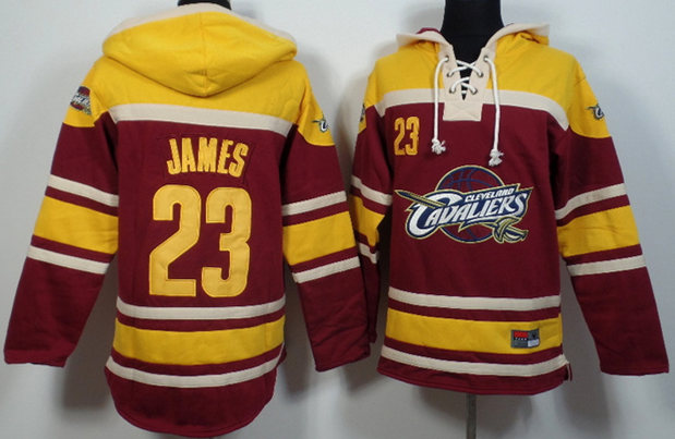 Cavaliers 23 LeBron James Red All Stitched Hooded Sweatshirt