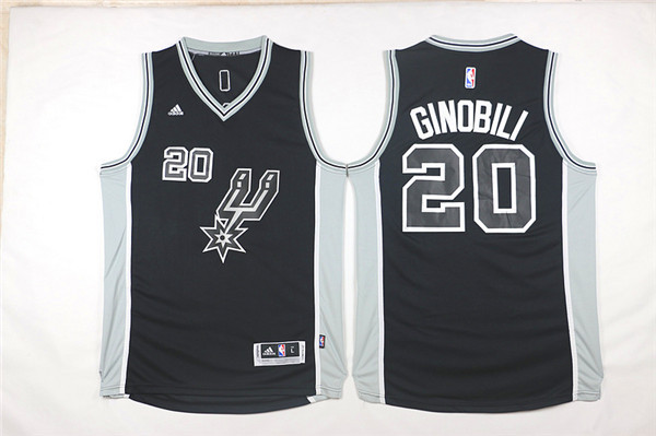 Spurs 20 Manu Ginobili Black 2015-16 Swingman Jersey
