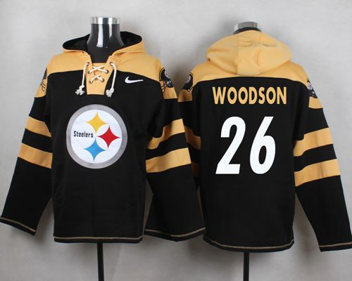 Nike Steelers 26 Rod Woodson Black Hooded Jersey