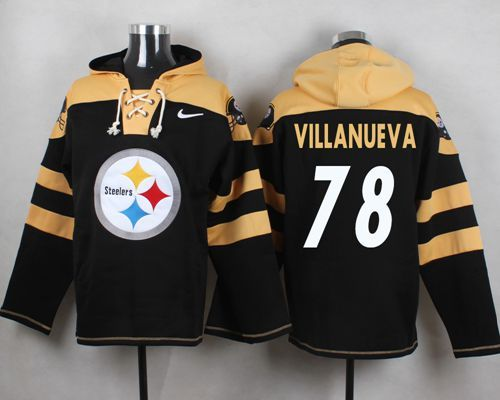 Nike Steelers 78 Alejandro Villanueva Black Hooded Jersey