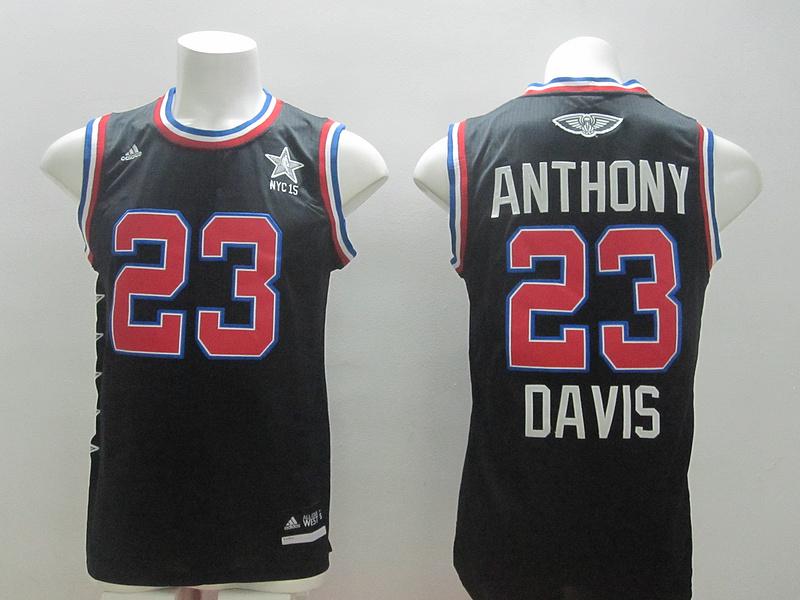 2015 NBA All Star NYC Western Conference 23 Anthony Davis Black Jerseys
