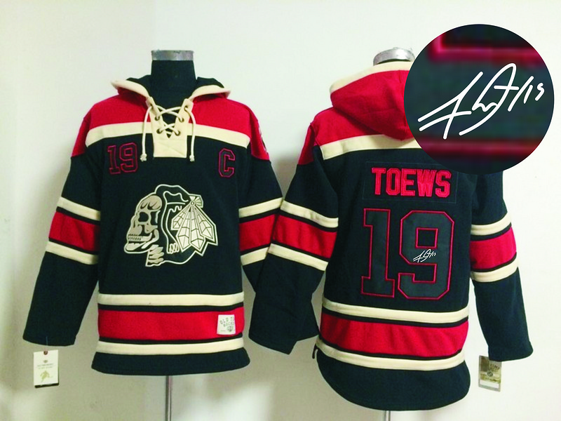 Blackhawks 19 Toews Black Skull Signature Edition Hooded Jerseys