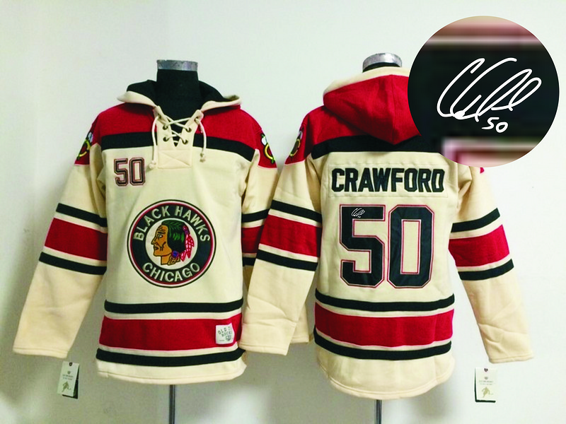 Blackhawks 50 Crawford Cream Old Times Signature Edition Hooded Jerseys
