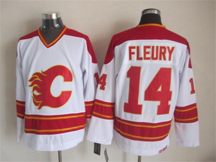 Flames 14 Fleury White CCM Jerseys