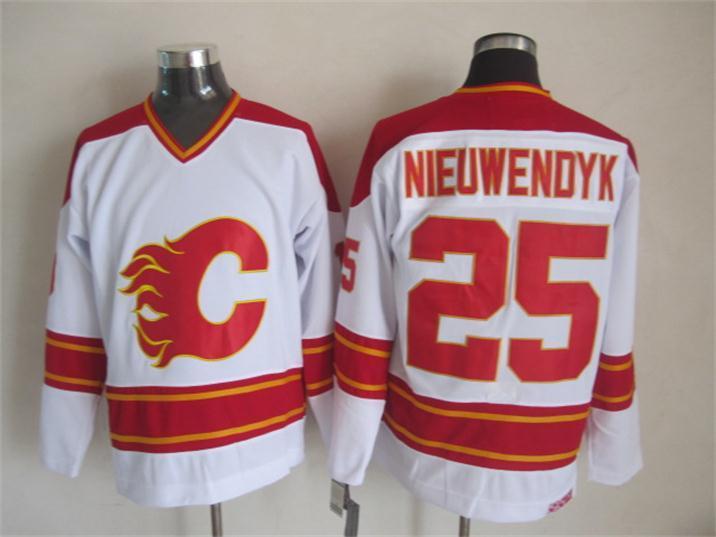 Flames 25 Nieuwendyk White CCM Jerseys