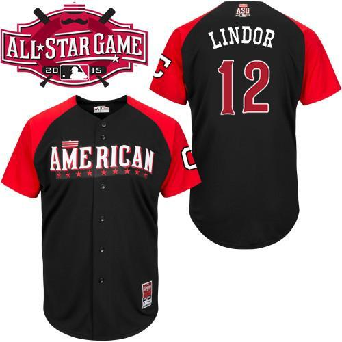 American League Indians 12 Lindor Black 2015 All Star Jersey