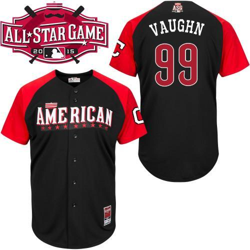 American League Indians 99 Vaughn Black 2015 All Star Jersey