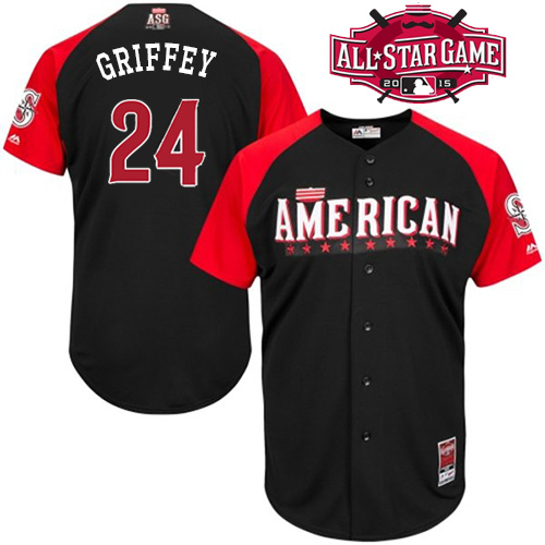 American League Mariners 24 Griffey Black 2015 All Star Jersey