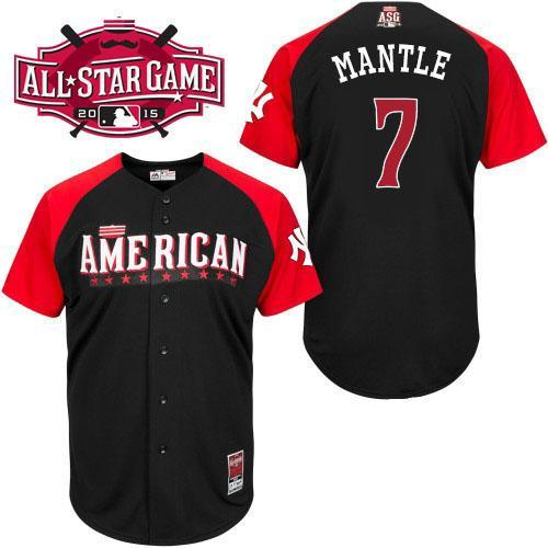 American League Yankees 7 Mantle Black 2015 All Star Jersey