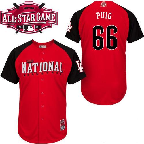 National League Dodgers 66 Puig Red 2015 All Star Jersey