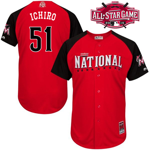 National League Marlins 51 Ichiro Red 2015 All Star Jersey