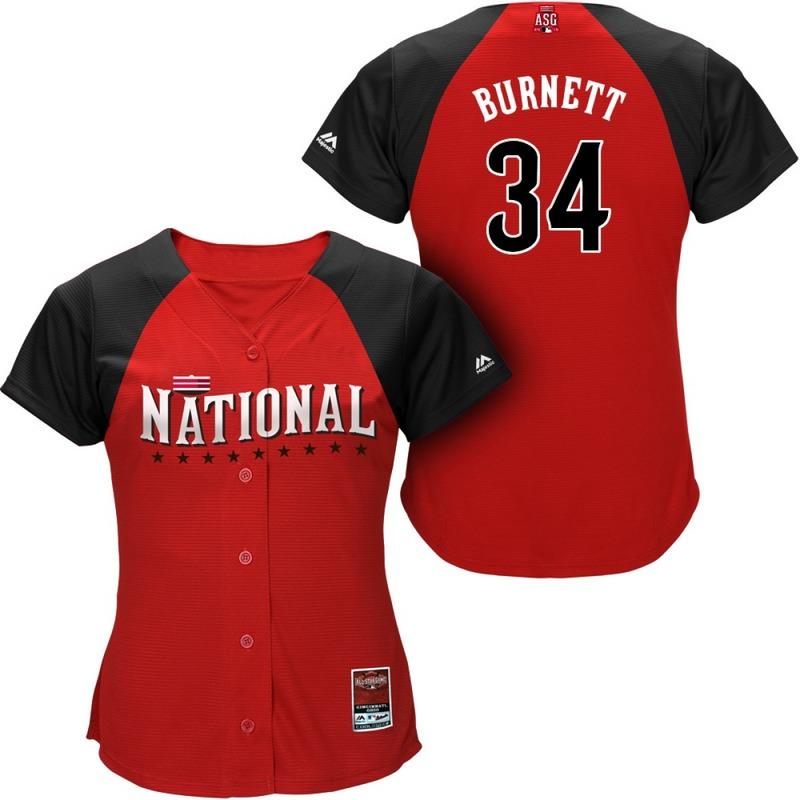National League Pirates 34 Burnett Red 2015 All Star Women Jersey
