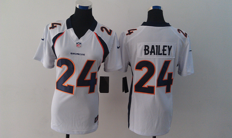 Nike Broncos 24 Champ Bailey White Limited Women Jersey