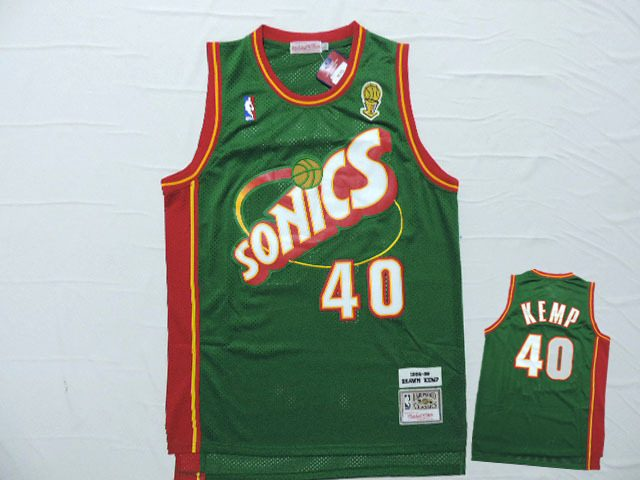 Supersonics 40 Shawn Kemp Green Hardwood Classics Jersey