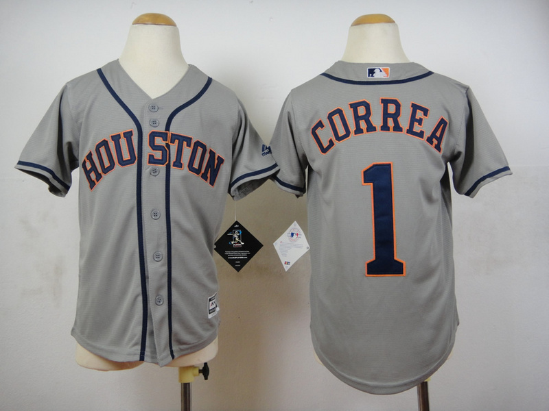 Astros 1 Carlos Correa Grey Youth New Cool Base Jersey