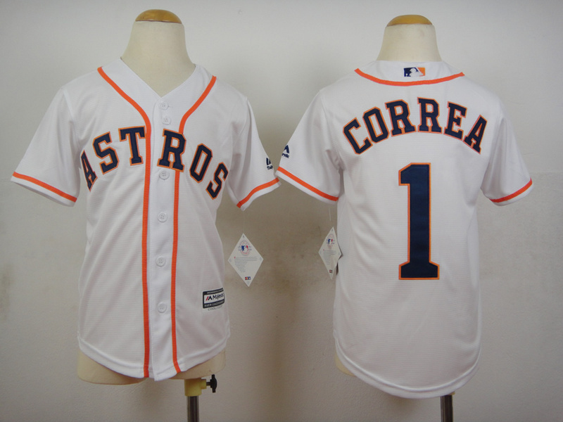 Astros 1 Carlos Correa White Youth New Cool Base Jersey