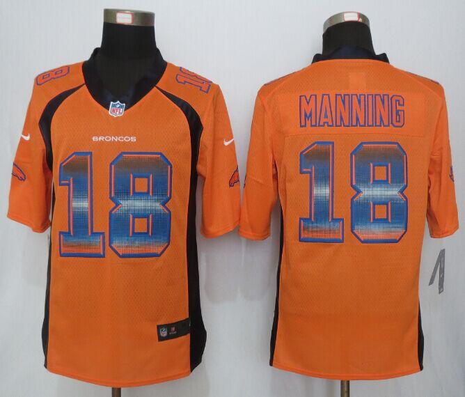 Nike Broncos 18 Peyton Manning Orange Pro Line Fashion Strobe Jersey