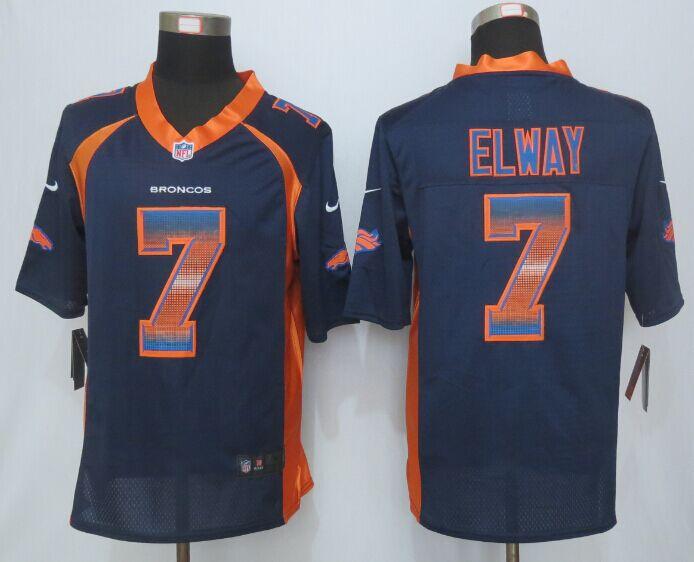 Nike Broncos 7 John Elway Blue Pro Line Fashion Strobe Jersey
