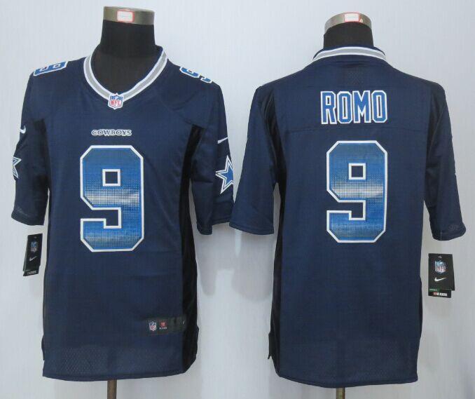 Nike Cowboys 9 Tony Romo Blue Pro Line Fashion Strobe Jersey