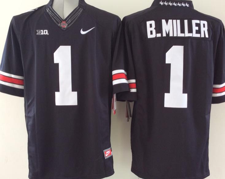 Ohio State Buckeyes 1 B.Miller Black NCAA Football Jersey
