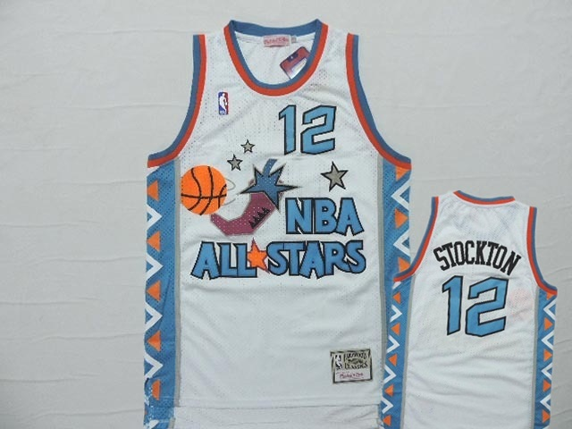 1996 All Star 12 John Stockton White Hardwood Classics Jersey