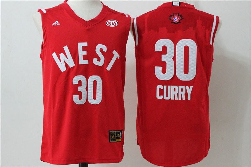 Warriors 30 Stephen Curry Red 2016 NBA All Star West Jersey