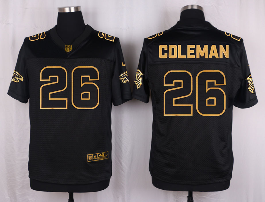 Nike Falcons 26 Tevin Coleman Pro Line Black Gold Collection Elite Jersey