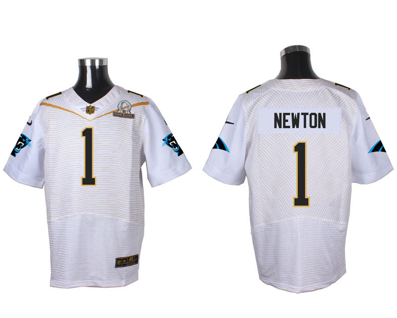 Nike Panthers 1 Cam Newton White 2016 Pro Bowl Elite Jersey