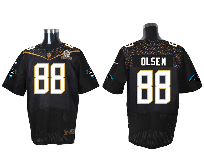 Nike Panthers 88 Greg Olsen Black 2016 Pro Bowl Elite Jersey