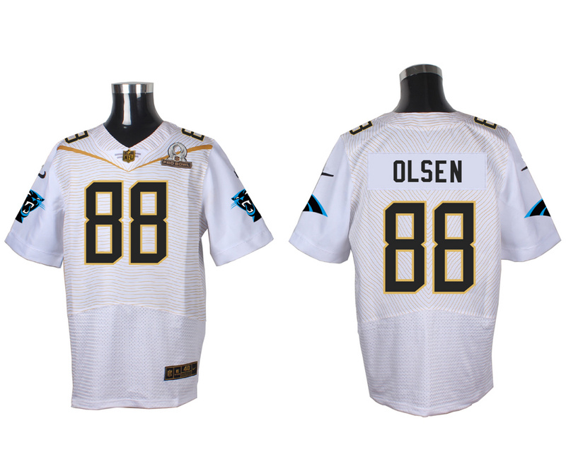 Nike Panthers 88 Greg Olsen White 2016 Pro Bowl Elite Jersey