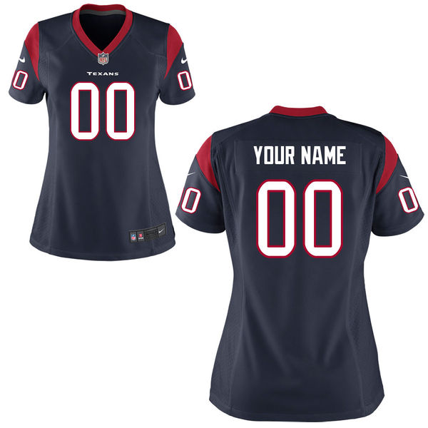 Nike Houston Texans Navy Women Game Customized Jersey