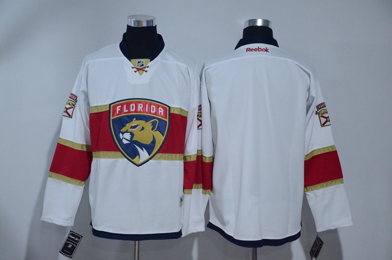 Panthers Blank White Away Reebok Jersey