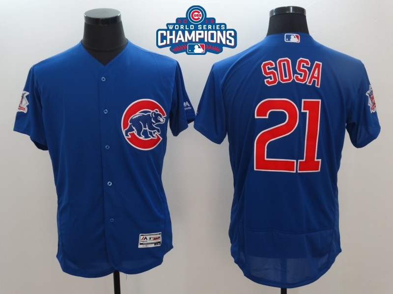 Cubs 21 Sammy Sosa Royal 2016 World Series Champions Flexbase Jersey