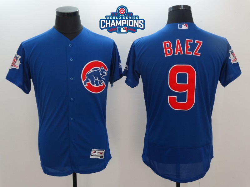 Cubs 9 Javier Baez Royal 2016 World Series Champions Flexbase Jersey