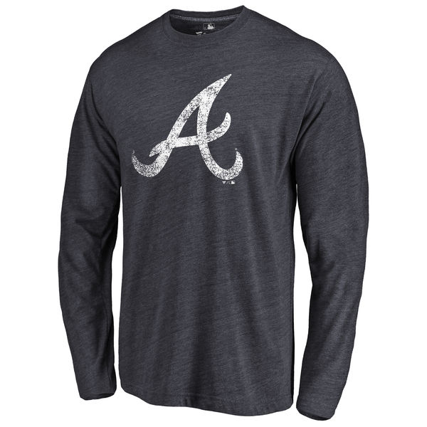 Atlanta Braves Distressed Team Long Sleeve Tri Blend T-Shirt Navy