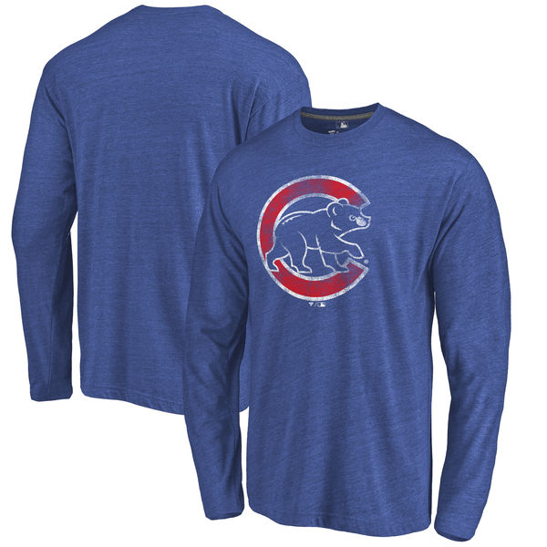 Chicago Cubs Distressed Team Long Sleeve Tri Blend T-Shirt Royal